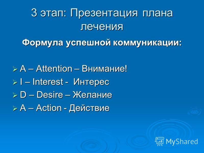 3 этап: Презентация плана лечения Формула успешной коммуникации: А – Attention – Внимание! А – Attention – Внимание! I – Interest - Интерес I – Interest - Интерес D – Desire – Желание D – Desire – Желание A – Action - Действие A – Action - Действие