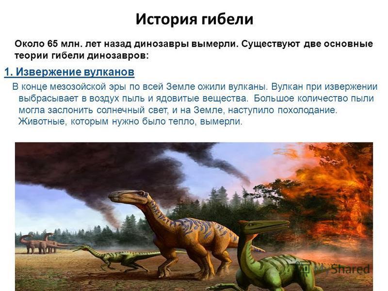 История гибели Около 65 млн. лет назад динозавры вымерли. Существуют две основные теории гибели динозавров: 1. Извержение вулканов В конце мезозойской эры по всей Земле ожили вулканы. Вулкан при извержении выбрасывает в воздух пыль и ядовитые веществ