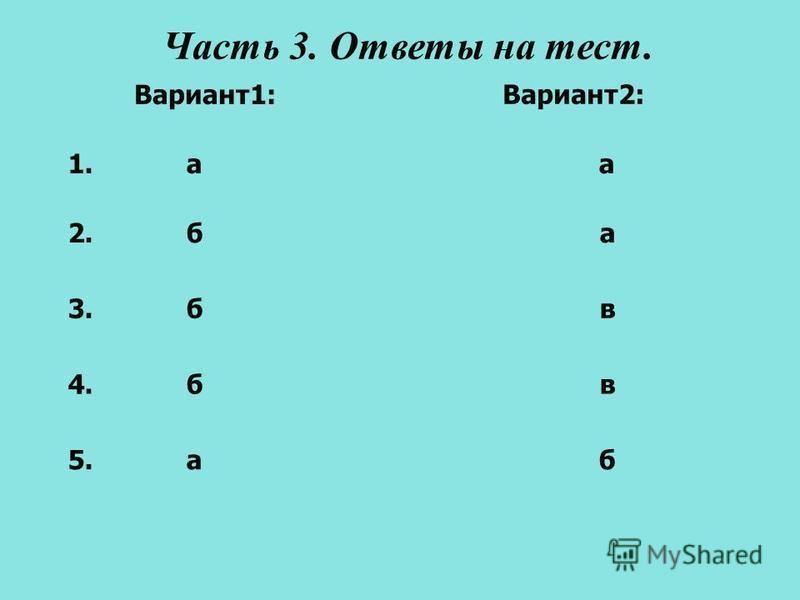 Часть 3. Ответы на тест. 1. а а Вариант 1: Вариант 2: 2. б а 5. а б 4. б в 3. б в
