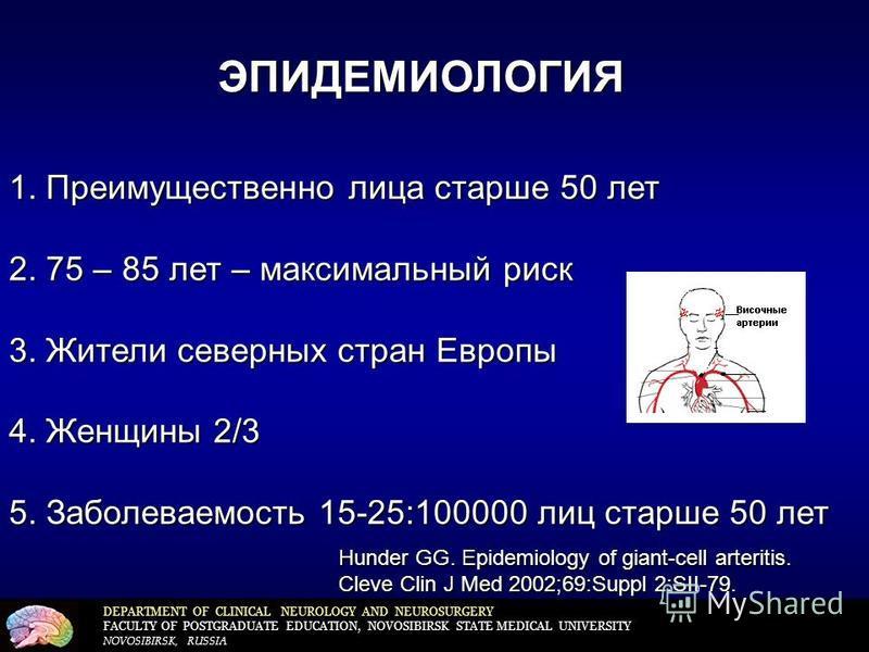 DEPARTMENT OF CLINICAL NEUROLOGY AND NEUROSURGERY FACULTY OF POSTGRADUATE EDUCATION, NOVOSIBIRSK STATE MEDICAL UNIVERSITY NOVOSIBIRSK, RUSSIA ЭПИДЕМИОЛОГИЯ 1. Преимущественно лица старше 50 лет 2. 75 – 85 лет – максимальный риск 3. Жители северных ст