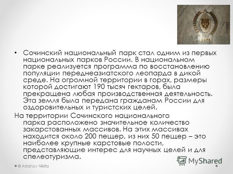 © Astahov Nikita Сочинский национальный парк стал одним из первых национальных парков России. В национальном парке реализуется программа по восстановлению популяции переднеазиатского леопарда в дикой среде. На огромной территории в горах, размеры кот