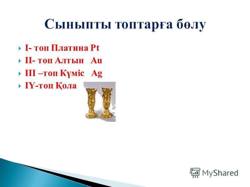І- топ Платина Pt ІІ- топ Алтын Au ІІІ –топ Күміс Ag ІҮ-топ Қола