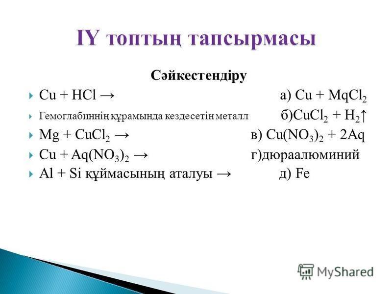 Сәйкестендіру Cu + HCl а) Cu + MqCl 2 Гемоглабиннің құрамында кездесетін металл б)CuCl 2 + H 2 Mg + CuCl 2 в) Cu(NO 3 ) 2 + 2Aq Cu + Aq(NO 3 ) 2 г)дюраалюминий Al + Si құймасының аталуы д) Fe