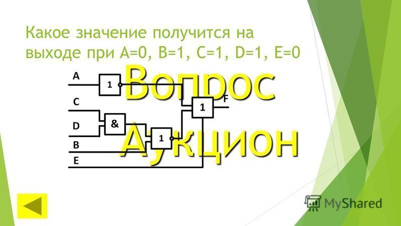 Какое значение получится на выходе при А=0, В=1, С=1, D=1, E=0 Вопрос Аукцион