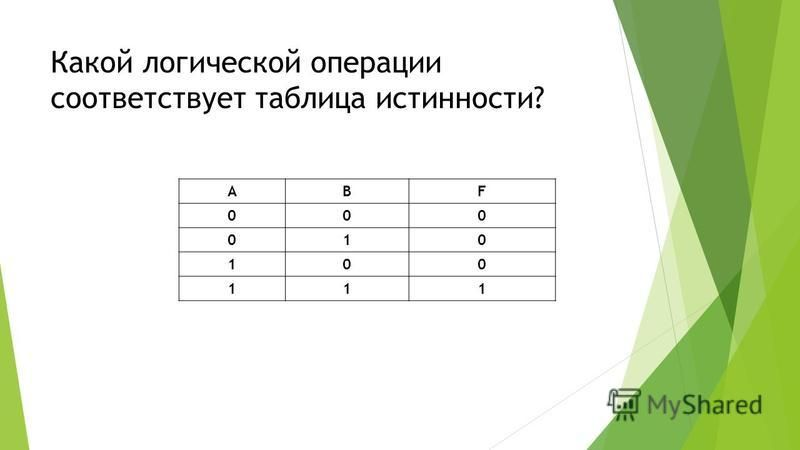 Какой логической операции соответствует таблица истинности? АВF 000 010 100 111
