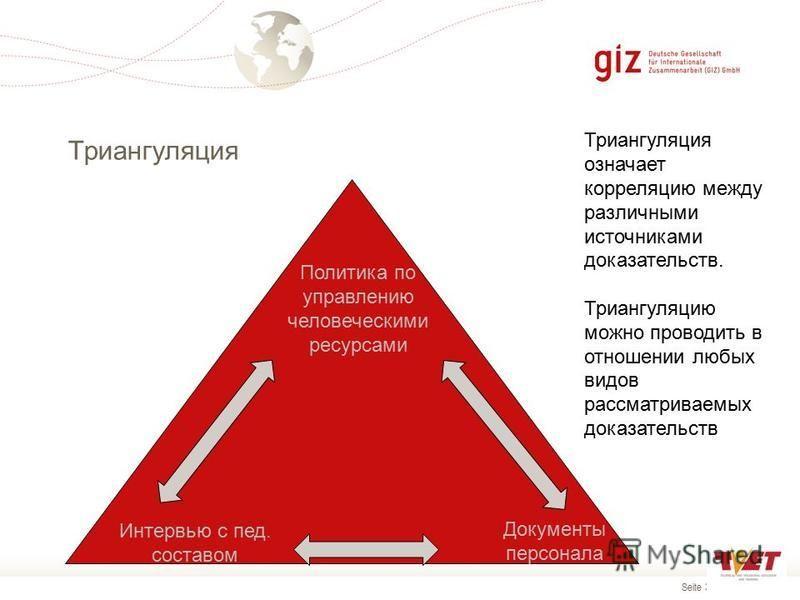 Seite 35 Триангуляция Документы персонала Интервью с пед. составом Политика по управлению человеческими ресурсами Триангуляция означает корреляцию между различными источниками доказательств. Триангуляцию можно проводить в отношении любых видов рассма