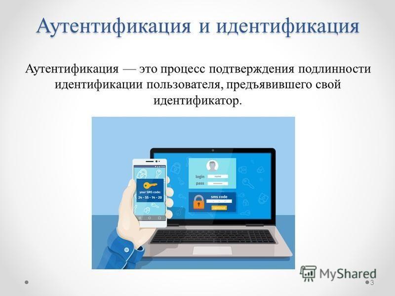 Аутентификация и идентификация Аутентификация это процесс подтверждения подлинности идентификации пользователя, предъявившего свой идентификатор. 3