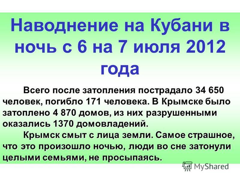 Наводнение на Кубани в ночь с 6 на 7 июля 2012 года Всего после затопления пострадало 34 650 человек, погибло 171 человека. В Крымске было затоплено 4 870 домов, из них разрушенными оказались 1370 домовладений. Всего после затопления пострадало 34 65