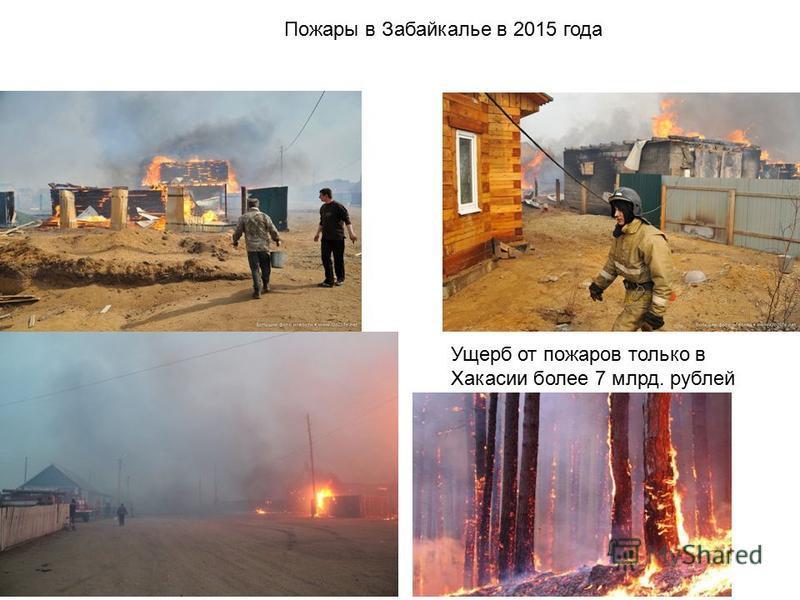 Пожары в Забайкалье в 2015 года Ущерб от пожаров только в Хакасии более 7 млрд. рублей