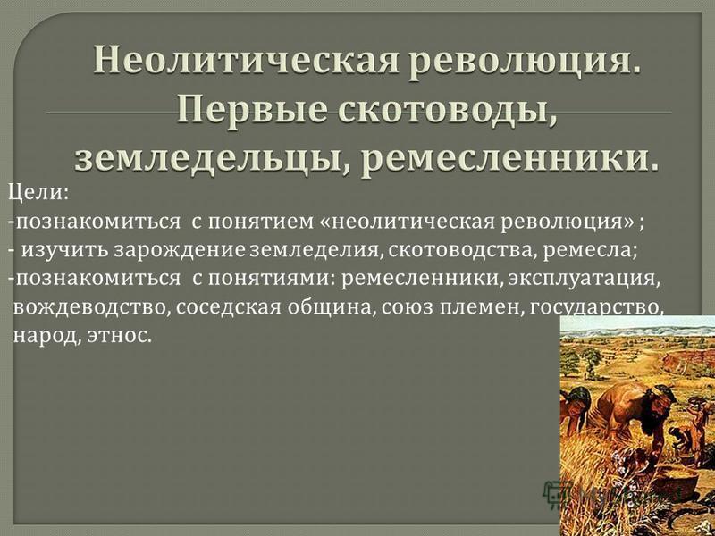 Цели : - познакомиться с понятием « неолитическая революция » ; - изучить зарождение земледелия, скотоводства, ремесла ; -познакомиться с понятиями : ремесленники, эксплуатация, вождеводство, соседская община, союз племен, государство, народ, этнос.