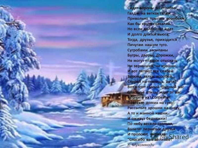 Сидят вороны по столбам, Галдят на ветках галки, Привольно прыгать воробьям, Как бы крутя скакалки. Но если долго снег идет И долго длится вьюга, Тогда, друзья, приходится Пичугам нашим туго. Сугробами засыпаны Бугры, дворы, дорожки, Не могут пташки