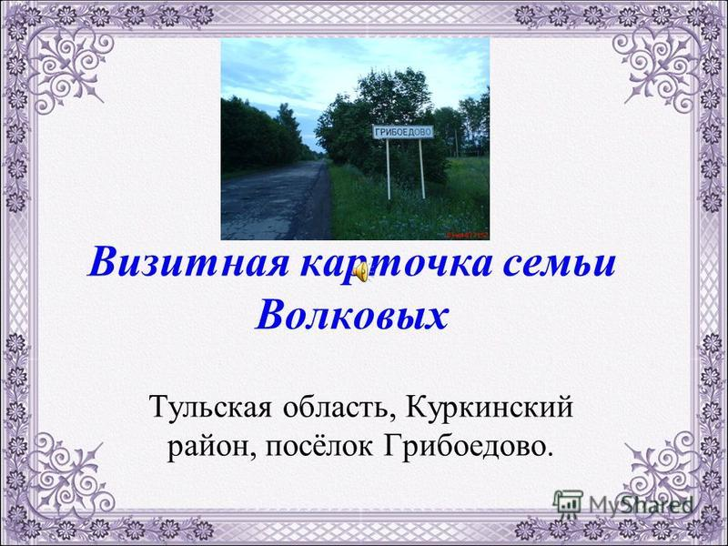 Визитная карточка семьи Волковых Тульская область, Куркинский район, посёлок Грибоедово.