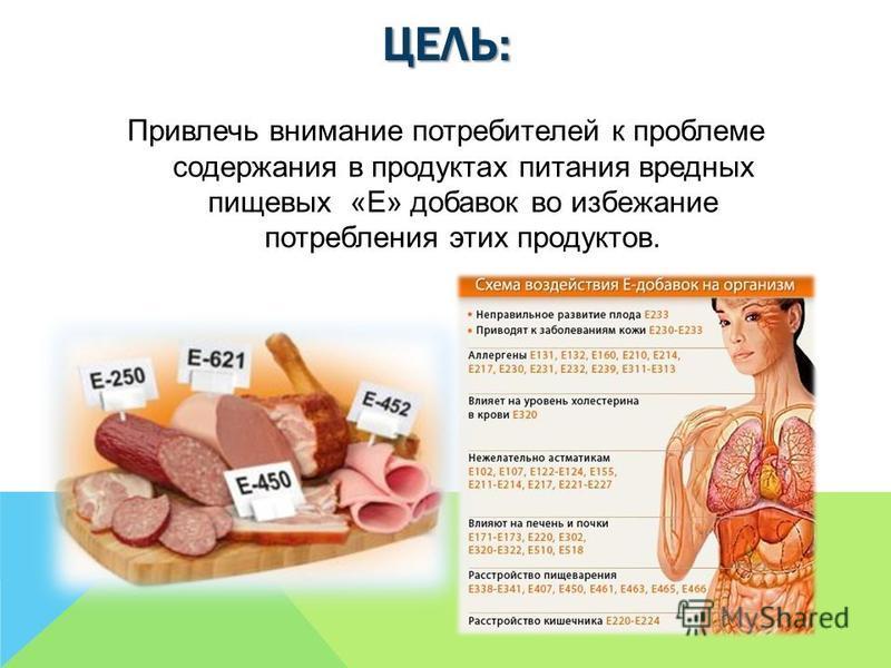 ЦЕЛЬ: Привлечь внимание потребителей к проблеме содержания в продуктах питания вредных пищевых «Е» добавок во избежание потребления этих продуктов.