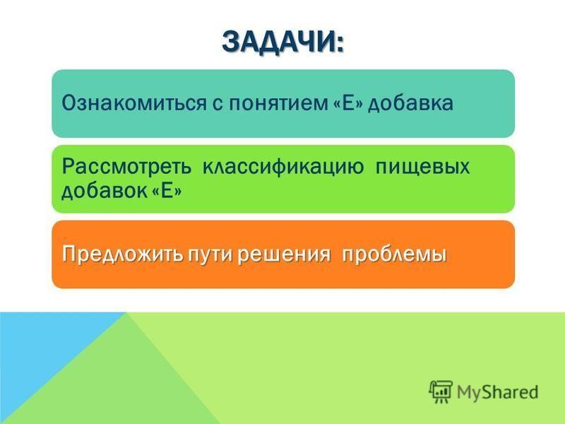 ЗАДАЧИ: Ознакомиться с понятием «Е» добавка Рассмотреть классификацию пищевых добавок «Е» Предложить пути решения проблемы