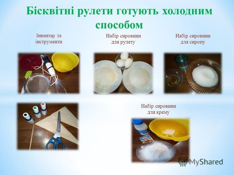 Інвентар та інструменти Бісквітні рулети готують холодним способом Набір сировини для рулету Набір сировини для сиропу Набір сировини для крему