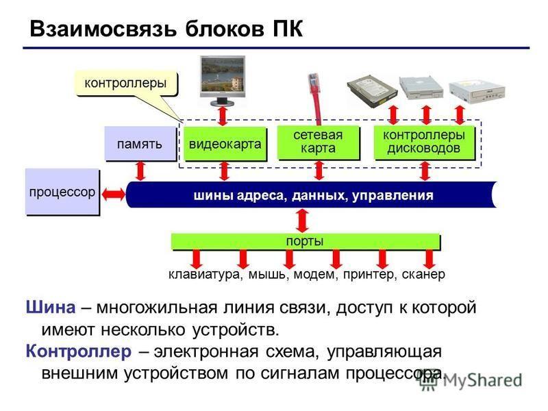 Взаимосвязь блоков ПК процессор память шины адреса, данных, управления порты клавиатура, мышь, модем, принтер, сканер видеокарта сетевая карта контроллеры дисководов Шина – многожильная линия связи, доступ к которой имеют несколько устройств. Контрол
