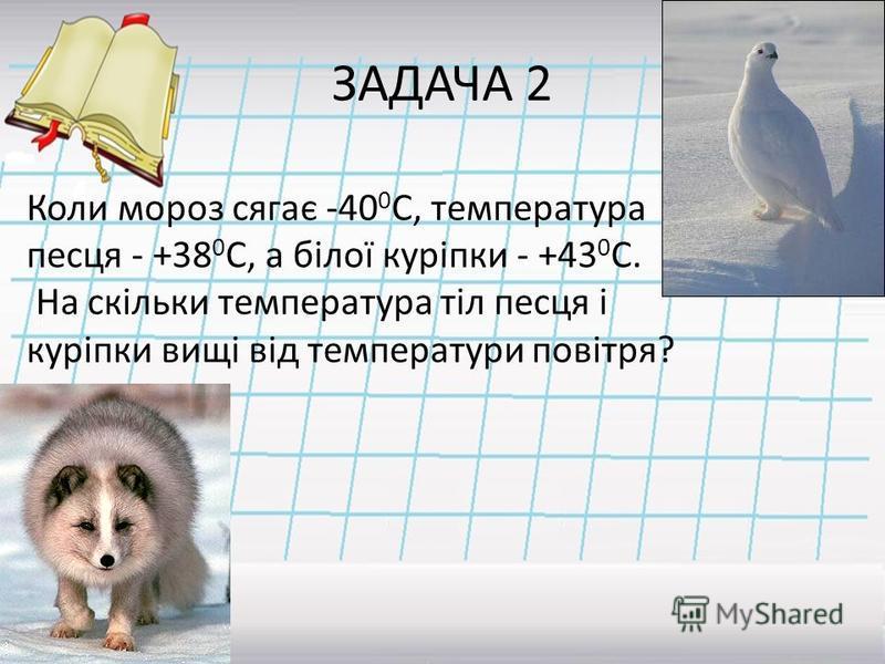 ЗАДАЧА 2 Коли мороз сягає -40 0 С, температура песця - +38 0 С, а білої куріпки - +43 0 С. На скільки температура тіл песця і куріпки вищі від температури повітря? Відповідь: 78 0 С; 83 0 С.