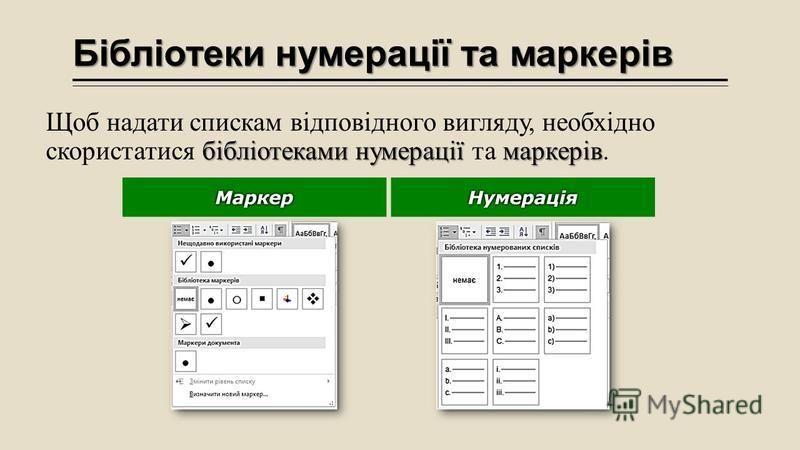 Бібліотеки нумерації та маркерів бібліотеками нумерації маркерів Щоб надати спискам відповідного вигляду, необхідно скористатися бібліотеками нумерації та маркерів.