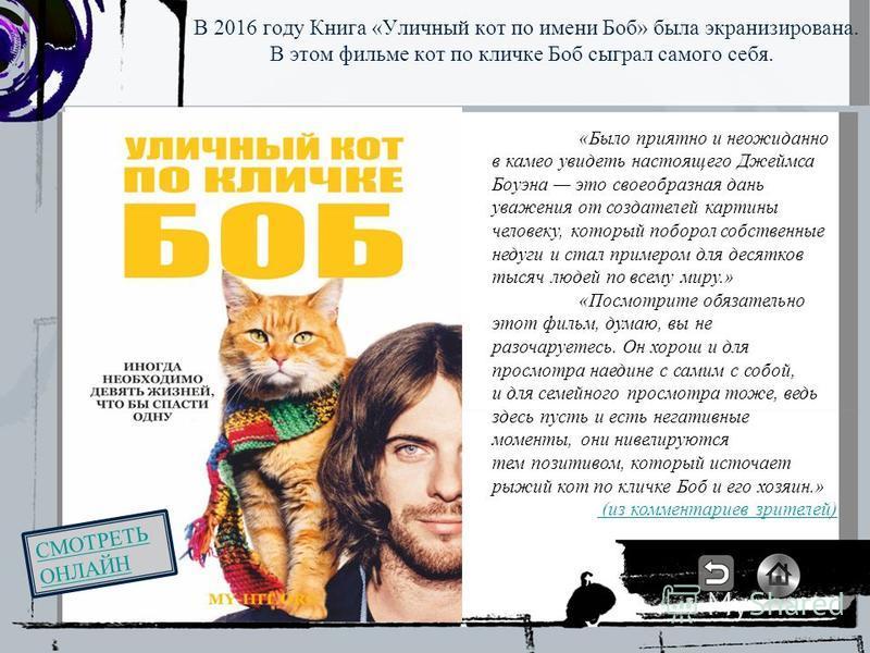 В 2016 году Книга «Уличный кот по имени Боб» была экранизирована. В этом фильме кот по кличке Боб сыграл самого себя. «Было приятно и неожиданно в камео увидеть настоящего Джеймса Боуэна это своеобразная дань уважения от создателей картины человеку,