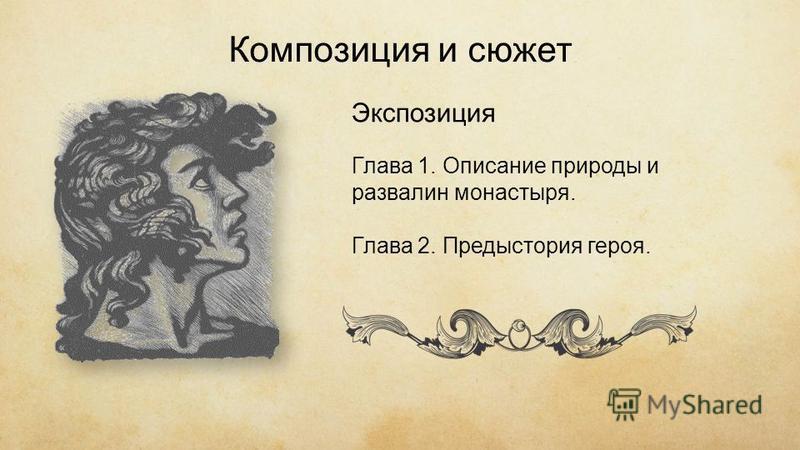 Композиция и сюжет Экспозиция Глава 1. Описание природы и развалин монастыря. Глава 2. Предыстория героя.
