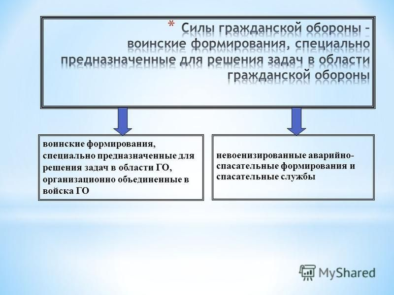 воинские формирования, специально предназначенные для решения задач в области ГО, организационно объединенные в войска ГО невоенизированные аварийно- спасательные формирования и спасательные службы