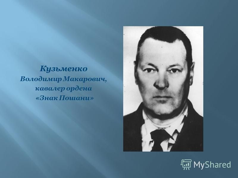 Кузьменко Володимир Макарович, кавалер ордена «Знак Пошани»