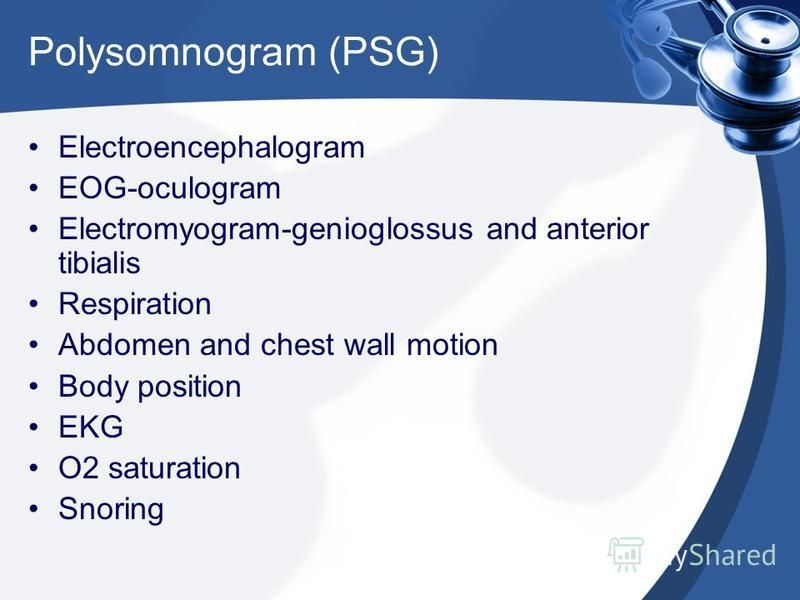 Polysomnogram (PSG) Electroencephalogram EOG-oculogram Electromyogram-genioglossus and anterior tibialis Respiration Abdomen and chest wall motion Body position EKG O2 saturation Snoring