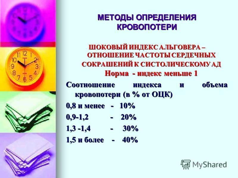 МЕТОДЫ ОПРЕДЕЛЕНИЯ КРОВОПОТЕРИ ШОКОВЫЙ ИНДЕКС АЛЬГОВЕРА – ОТНОШЕНИЕ ЧАСТОТЫ СЕРДЕЧНЫХ СОКРАШЕНИЙ К СИСТОЛИЧЕСКОМУ АД Норма - индекс меньше 1 Соотношение индекса и объема кровопотери (в % от ОЦК) 0,8 и менее - 10% 0,9-1,2 - 20% 1,3 -1,4 - 30% 1,5 и бо