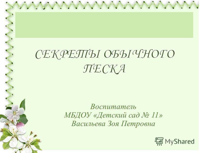 Воспитатель МБДОУ «Детский сад 11» Васильева Зоя Петровна