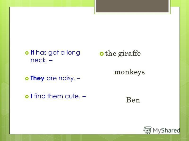 It has got a long neck. – They are noisy. – I find them cute. – the giraffe monkeys Ben