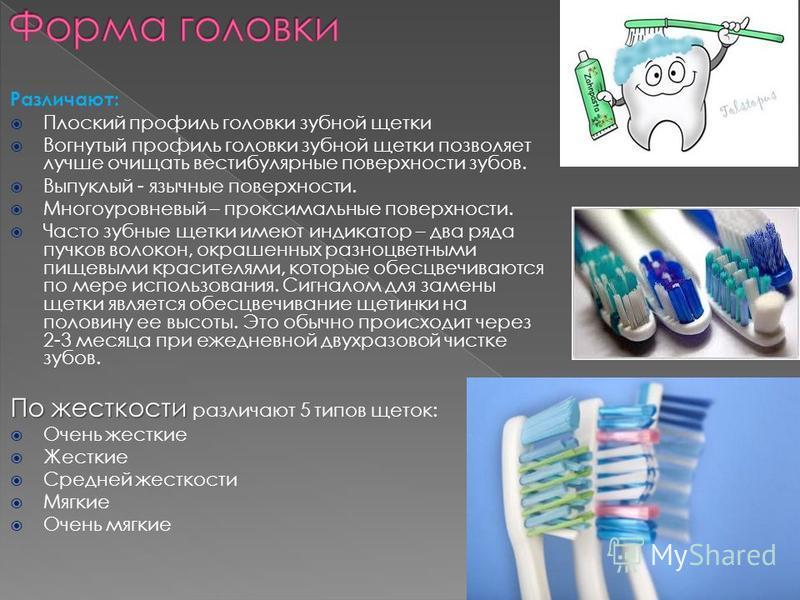 Различают: Плоский профиль головки зубной щетки Вогнутый профиль головки зубной щетки позволяет лучше очищать вестибулярные поверхности зубов. Выпуклый - язычные поверхности. Многоуровневый – проксимальные поверхности. Часто зубные щетки имеют индика