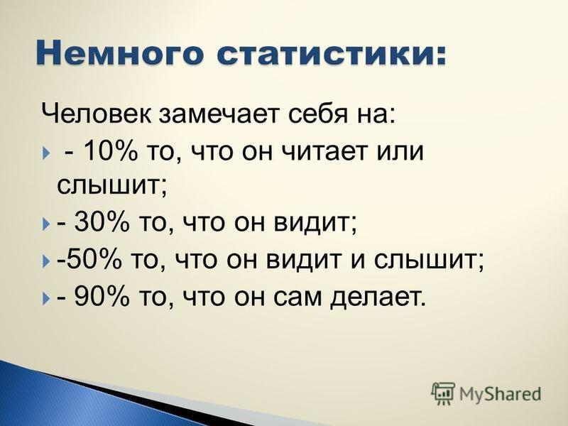 Информационный прием происходит в среднем: - 80% через глаза; -15 % через уши; - 5 % через другие органы восприятия.