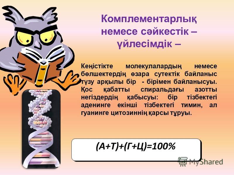 Комплементарлық немесе сәйкестік – үйлесімдік – Кеңістікте молекулалародың немесе бөлшектердің өзара сутектік байланыс түзу арқылы бір - бірімен байланысуы. Қос қабатты спиральдағы азоты негіздердің қабысуы: бір тізбектегі аденинге екінші тізбектегі
