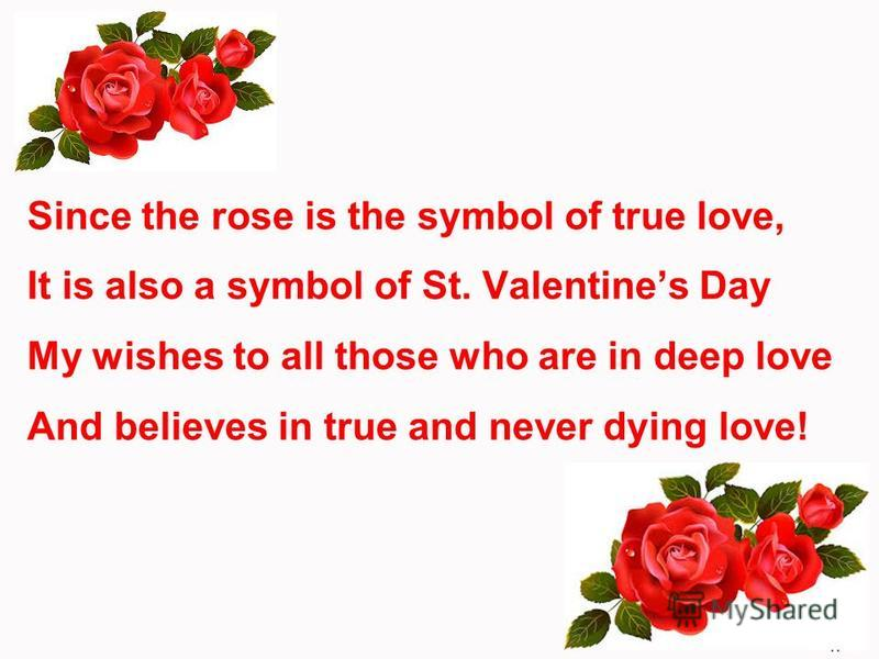 Since the rose is the symbol of true love, It is also a symbol of St. Valentines Day My wishes to all those who are in deep love And believes in true and never dying love!