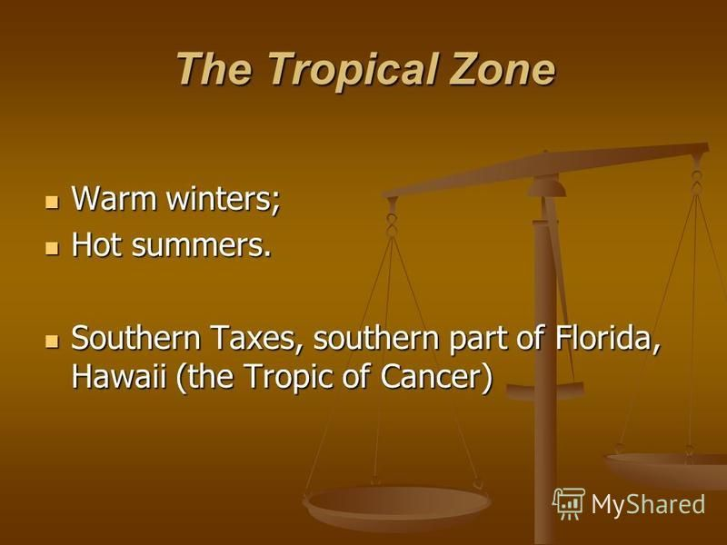 The Tropical Zone Warm winters; Warm winters; Hot summers. Hot summers. Southern Taxes, southern part of Florida, Hawaii (the Tropic of Cancer) Southern Taxes, southern part of Florida, Hawaii (the Tropic of Cancer)