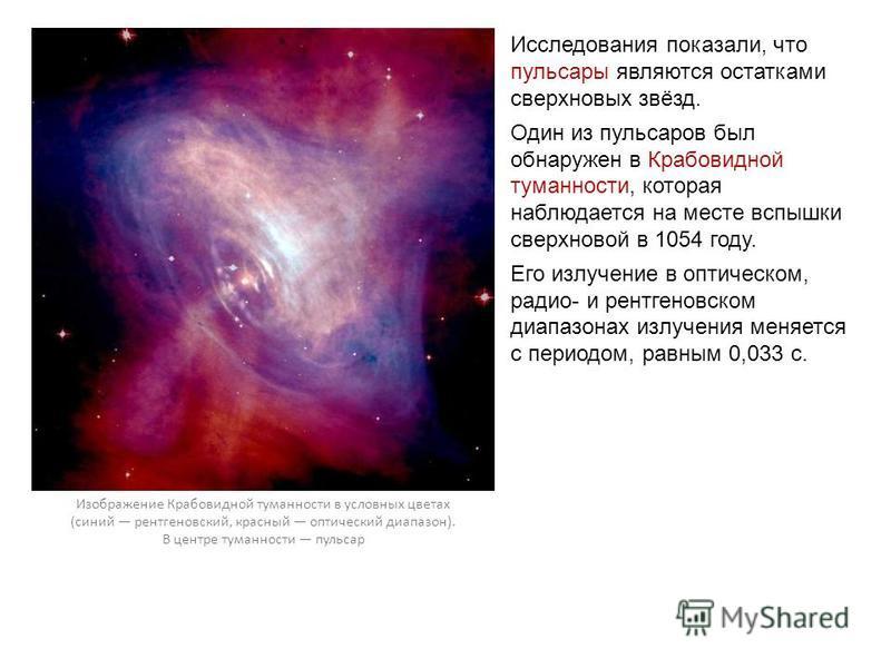 Исследования показали, что пульсары являются остатками сверхновых звёзд. Один из пульсаров был обнаружен в Крабовидной туманности, которая наблюдается на месте вспышки сверхновой в 1054 году. Его излучение в оптическом, радио- и рентгеновском диапазо