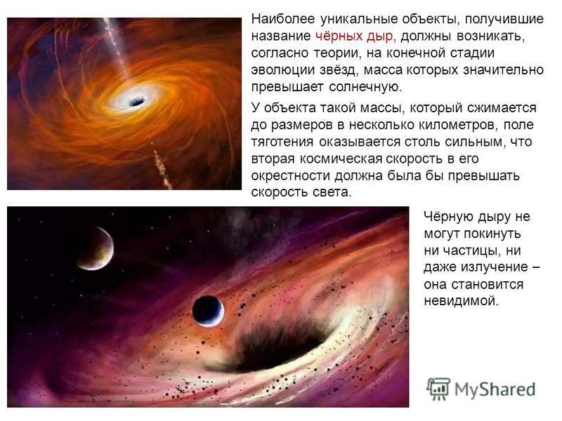 Наиболее уникальные объекты, получившие название чёрных дыр, должны возникать, согласно теории, на конечной стадии эволюции звёзд, масса которых значительно превышает солнечную. У объекта такой массы, который сжимается до размеров в несколько километ