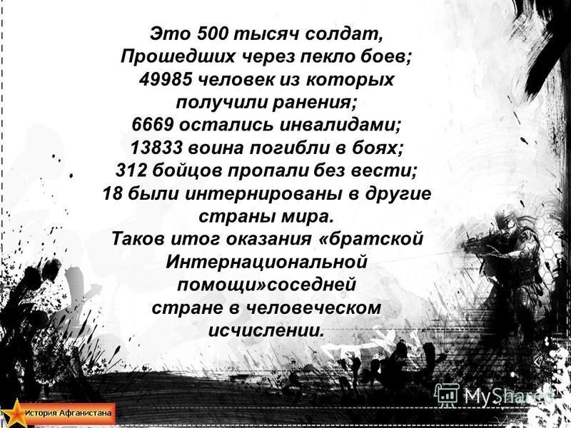 Это 500 тысяч солдат, Прошедших через пекло боев; 49985 человек из которых получили ранения; 6669 остались инвалидами; 13833 воина погибли в боях; 312 бойцов пропали без вести; 18 были интернированы в другие страны мира. Таков итог оказания «братской