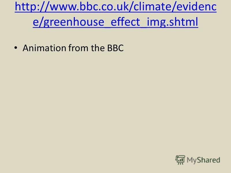 http://www.bbc.co.uk/climate/evidenc e/greenhouse_effect_img.shtml Animation from the BBC