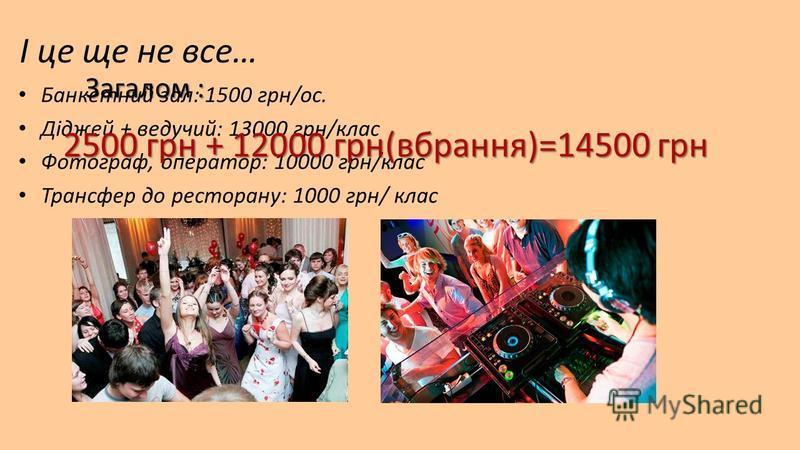 І це ще не все… Банкетний зал: 1500 грн/ос. Діджей + ведучий: 13000 грн/клас Фотограф, оператор: 10000 грн/клас Трансфер до ресторану: 1000 грн/ клас 2500 грн + 12000 грн(вбрання)=14500 грн Загалом :