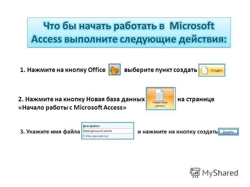 1. Нажмите на кнопку Office выберите пункт создать 2. Нажмите на кнопку Новая база данных на странице «Начало работы с Microsoft Access» 3. Укажите имя файла и нажмите на кнопку создать