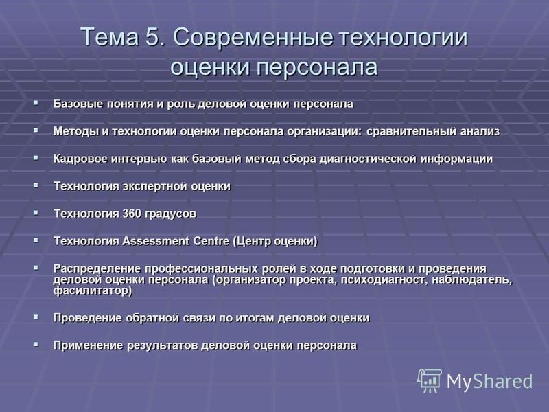 Тема 5. Современные технологии оценки персонала Базовые понятия и роль деловой оценки персонала Базовые понятия и роль деловой оценки персонала Методы и технологии оценки персонала организации: сравнительный анализ Методы и технологии оценки персонал