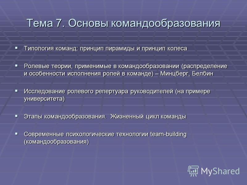 Тема 7. Основы командообразования Типология команд: принцип пирамиды и принцип колеса Типология команд: принцип пирамиды и принцип колеса Ролевые теории, применимые в командообразовании (распределение и особенности исполнения ролей в команде) – Минцб