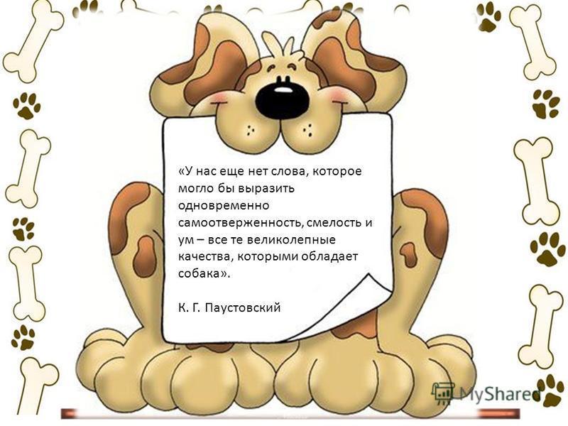 «У нас еще нет слова, которое могло бы выразить одновременно самоотверженность, смелость и ум – все те великолепные качества, которыми обладает собака». К. Г. Паустовский