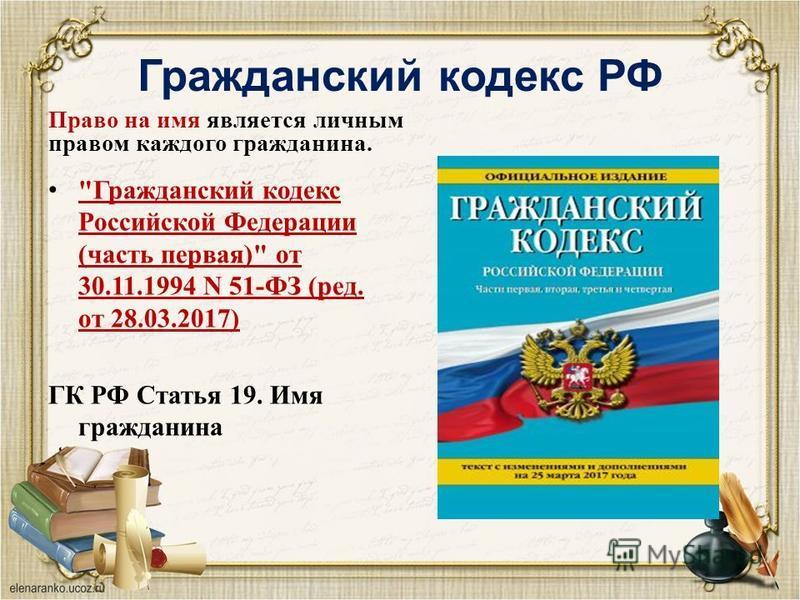 Гражданский кодекс РФ Право на имя является личным правом каждого гражданина.