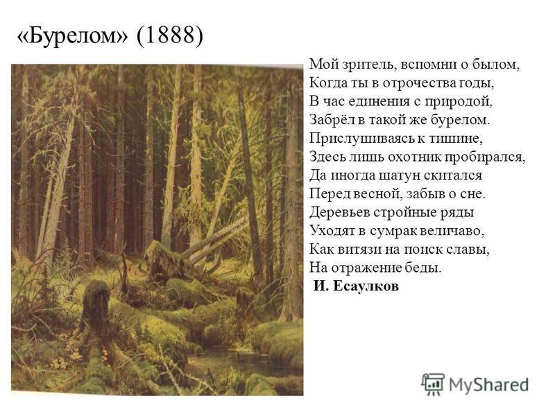 «Бурелом» (1888) Мой зритель, вспомни о былом, Когда ты в отрочества годы, В час единения с природой, Забрёл в такой же бурелом. Прислушиваясь к тишине, Здесь лишь охотник пробирался, Да иногда шатун скитался Перед весной, забыв о сне. Деревьев строй