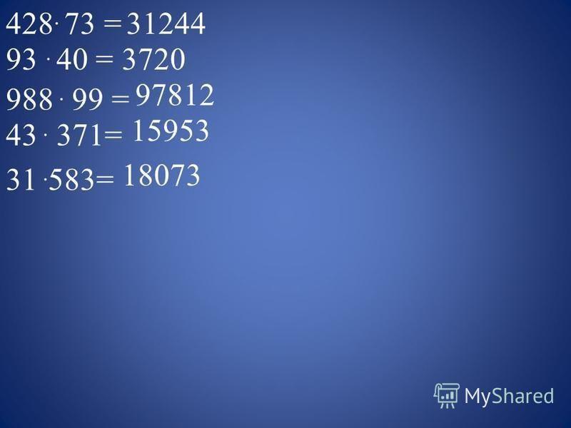 428. 73 =31244 93. 40 =3720 988. 99 = 97812 43. 371= 15953 31. 583= 18073
