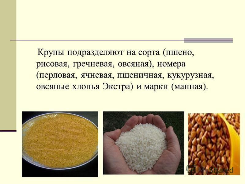 Крупы подразделяют на сорта (пшено, рисовая, гречневая, овсяная), номера (перловая, ячневая, пшеничная, кукурузная, овсяные хлопья Экстра) и марки (манная).