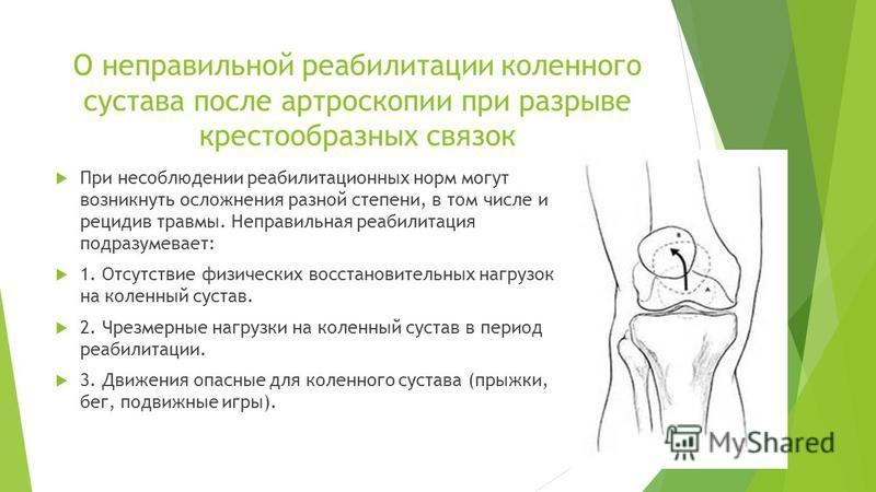 О неправильной реабилитации коленного сустава после артроскопии при разрыве крестообразных связок При несоблюдении реабилитационных норм могут возникнуть осложнения разной степени, в том числе и рецидив травмы. Неправильная реабилитация подразумевает