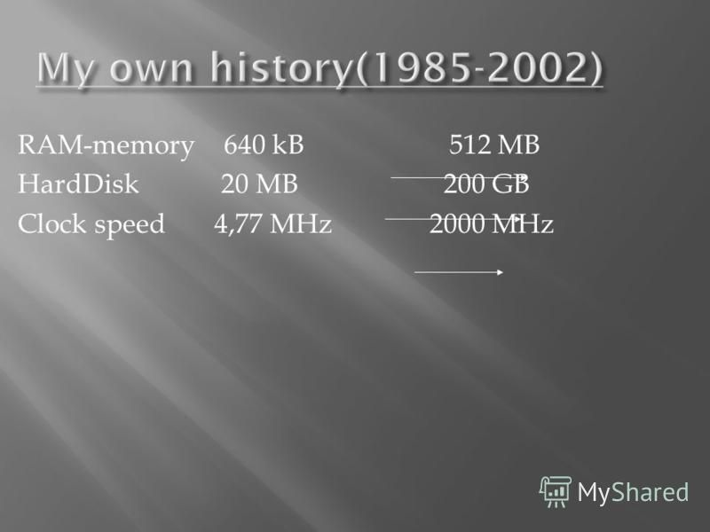 RAM-memory 640 kB 512 MB HardDisk 20 MB 200 GB Clock speed 4,77 MHz 2000 MHz